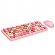 MOFII 666 COLOURFUL 2.4G Wireless keyboard mouse combo set - Pink(780-4042)