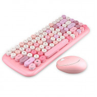 MOFii CANDY COLORFUL 2.4G Wireless Keyboard Mouse Combo Set - Pink